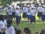 school girls in music class