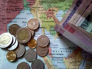 thai baht exchange rate and map
